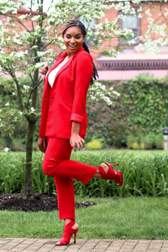 Dyandra-Raye-Red-Suit-Monochrome-Red-Sandals